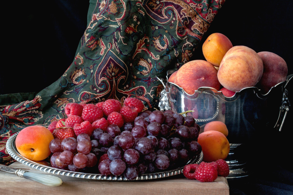 still life with grapes and peaches