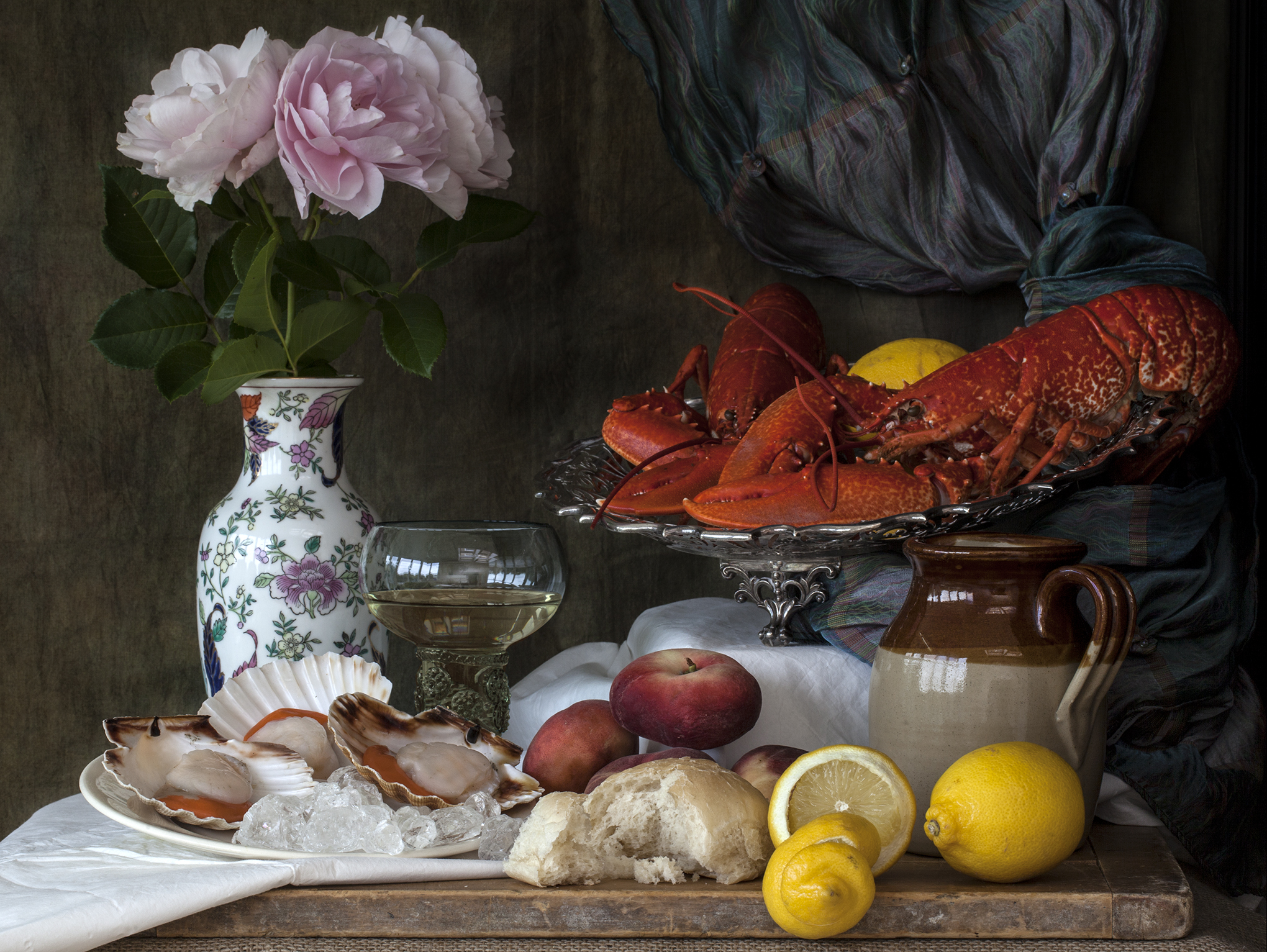 still life with lobster and scallops