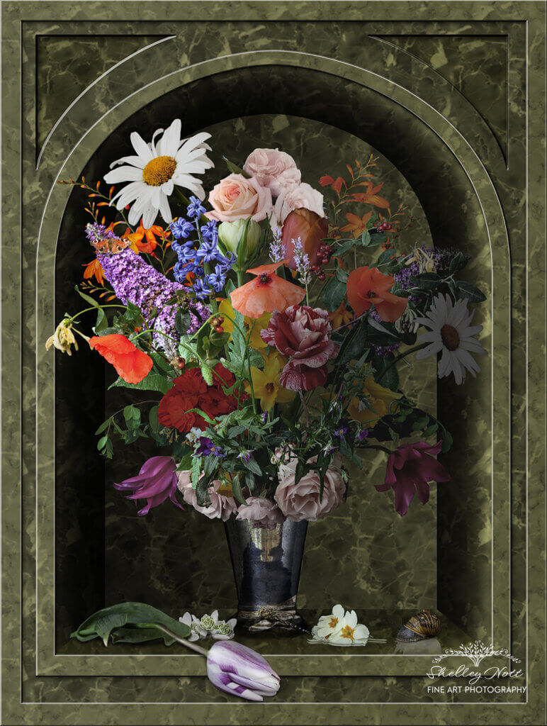 Flowers in a Silver Vase montage